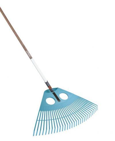 Грабли пластиковые веерные для газонов Gardena Combisystem 77 см и ручка деревянная 130 см (03015-20)