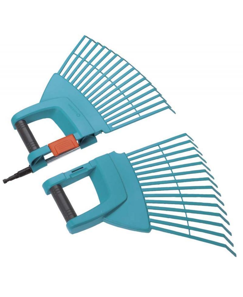 Грабли пластиковые веерные XXL складные 2-в-1 Gardena Combisystem 77 см с деревянной ручкой 130 см (03107-30)