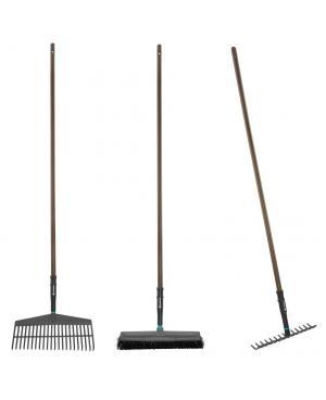 Набір садових інструментів Gardena NatureLine граблі пластикові 43 см, граблі металеві 36 см, щітка для прибирання 45 см (17150-20)