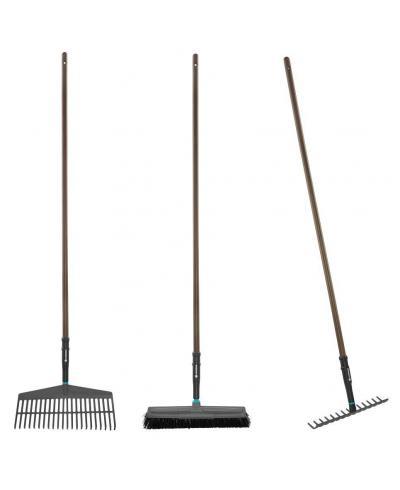 Набор садовых инструментов Gardena NatureLine грабли пластиковые 43 см, грабли металлические 36 см, щетка для уборки 45 см (17150-20)