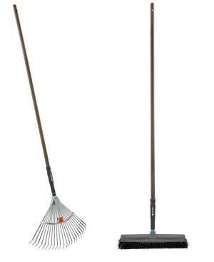 Набір садових інструментів Gardena NatureLine граблі металеві регульовані 30-50 см, щітка для прибирання 45 см (17152-20)