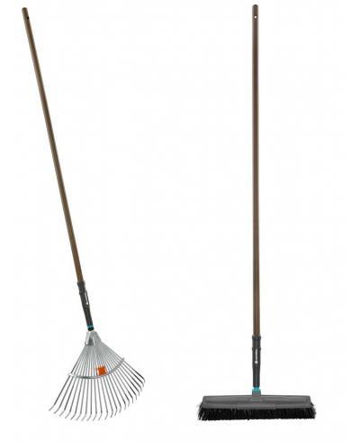 Набор садовых инструментов Gardena NatureLine грабли металлические регулируемые 30-50 см, щетка для уборки 45 см (17152-20)