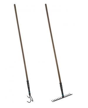 Набір садових інструментів Gardena NatureLine розпушувач 9 см, граблі металеві 36 см (17153-20)