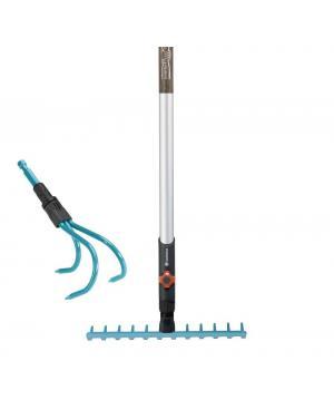 Комплект інструменту Gardena Combisystem розпушувач 9 см і граблі 30 см 12 зубів і ручка дерев'яна 130 см (03004-20)