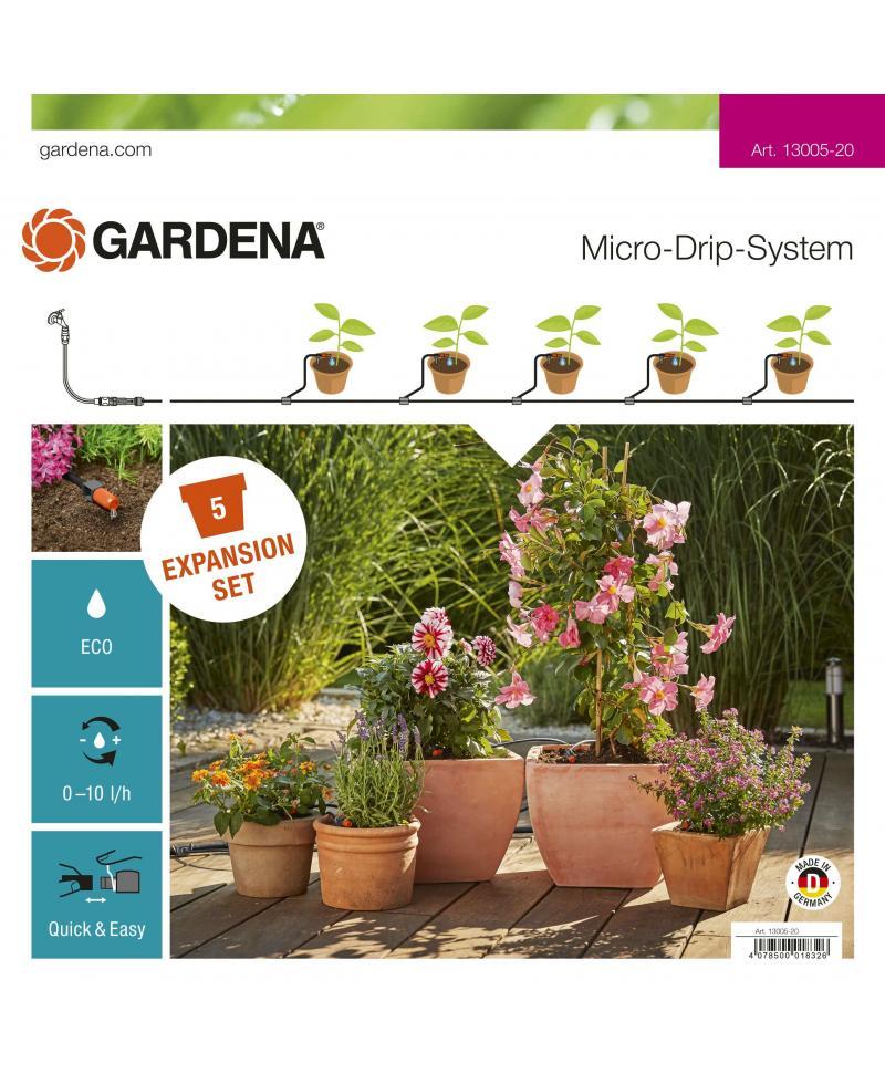 Комплект для розширення мікрокрапельного поливу Gardena Micro-Drip-System на 5 горщиків (13005-20)