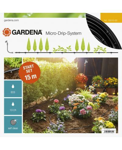 Базовый комплект полива шланга-дождевателя Gardena Micro-Drip-System 15 м, 1,5 л/час (13010-20)