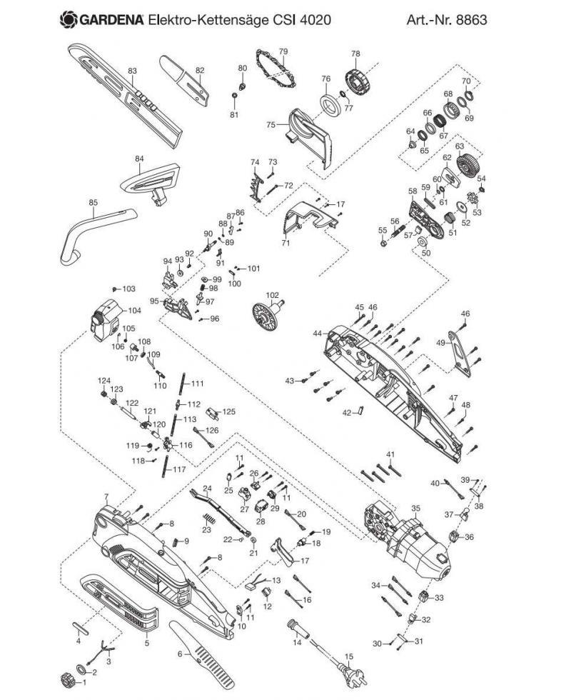 Крышка регулятора натяжения цепи в сборе для электропилы Gardena CSI 4020-X (62557-42.840.01)