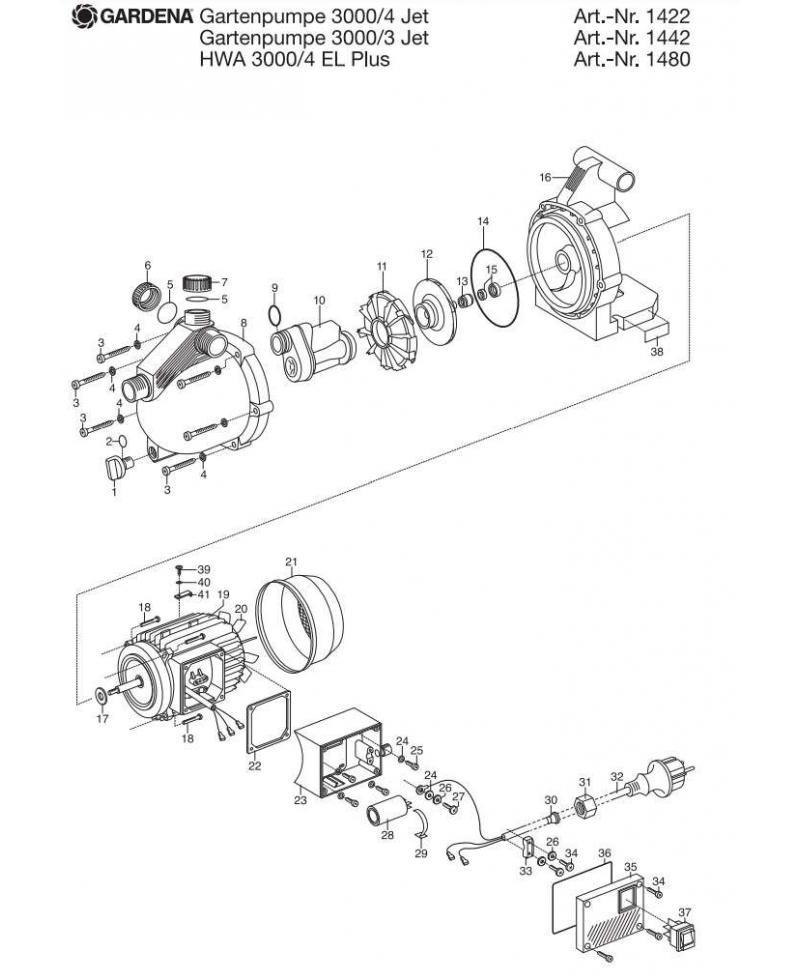 Крышка корпуса насоса Gardena 3000/3 Jet, 3000/4 electronic plus (01442-00.900.01)