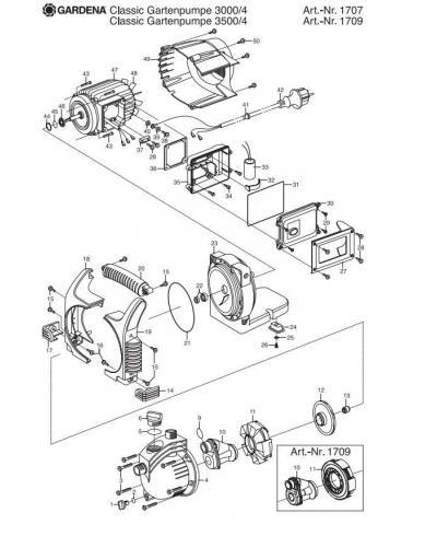 Крышка корпуса насоса Gardena Classic 3500/4 (01709-00.900.01)