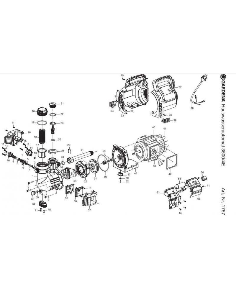 Крышка корпуса насоса Gardena Classic 3500/4E Automatic (01757-00.900.01)