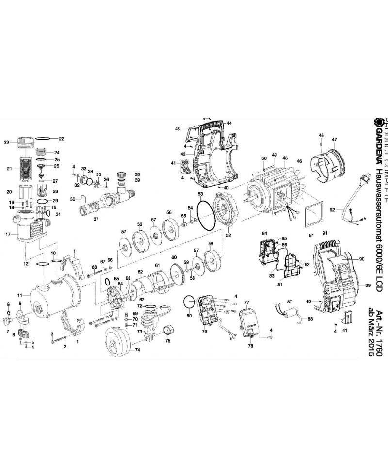 Корпус фильтра насоса Gardena Premium 6000/6 inox, Premium 6000/6E LCD Inox Automatic (01760-00.900.21)