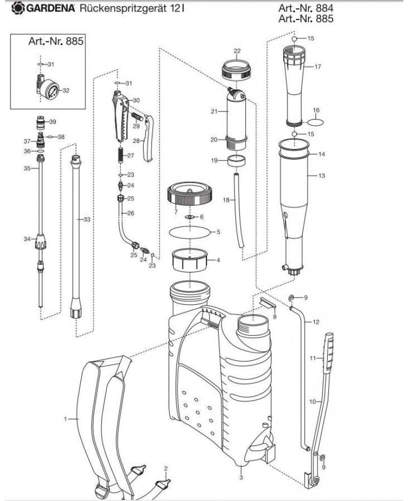 Кольцо уплотнительное Gardena для ранцевого опрыскивателя 12 л (00884-00.900.07)
