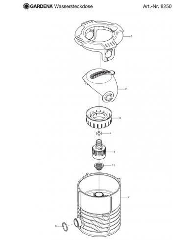 Крышка сфера для колонок Gardena 8250, 2724 (02722-00.600.12)