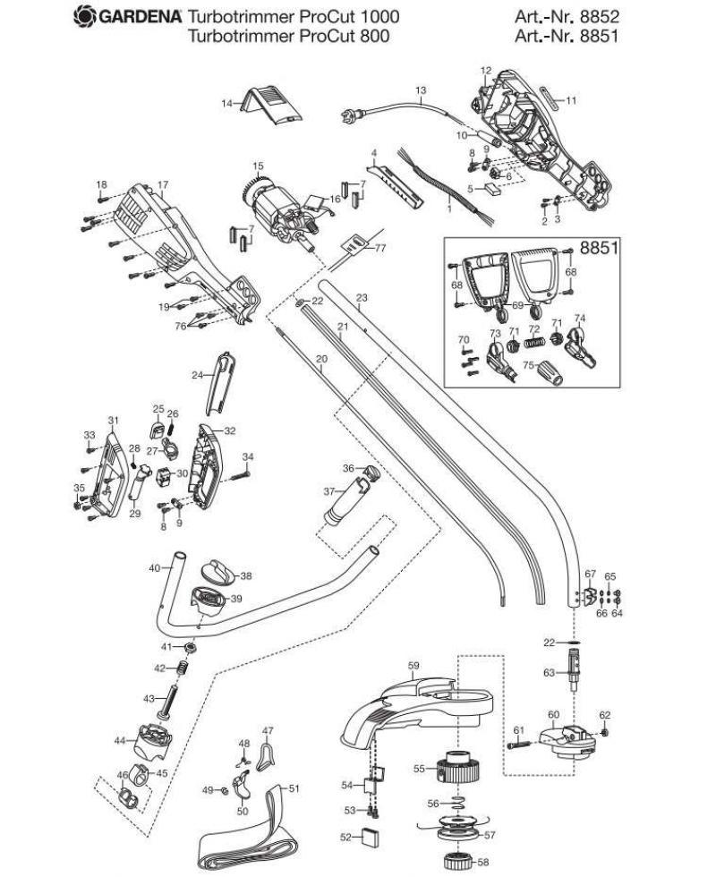 Защитный кожух в сборе для турботриммера Gardena ProCut 800, ProCut 1000 (08852-00.900.31)