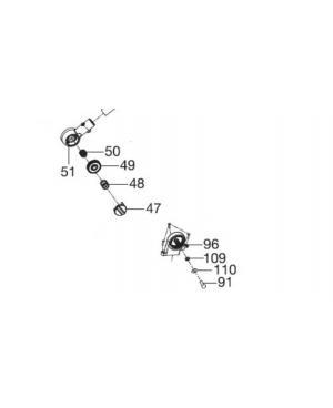 Крепление ручки левое в сборе для газонокосилки Gardena PowerMax 1600/37, PowerMax 1800/42, PowerMax Li-40/37 (05037-00.903.00)