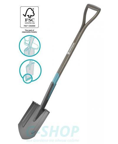Лопата садовая штыковая заостренная Gardena NatureLine D-образная рукоятка 117 см (17001-20)